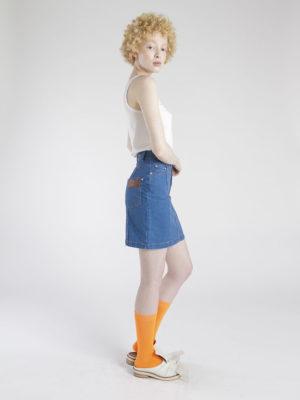 saia jeans cintura alta